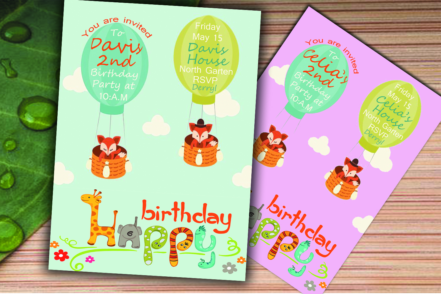 Birthday invitation card in 2 colours  (for boys & girls) example image 3