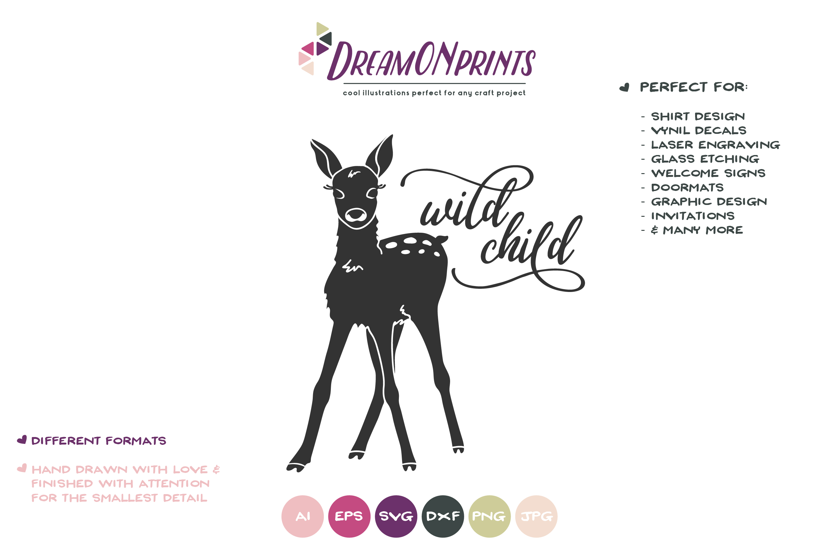 Wild Child SVG - Deer, Fawn SVG example image 2