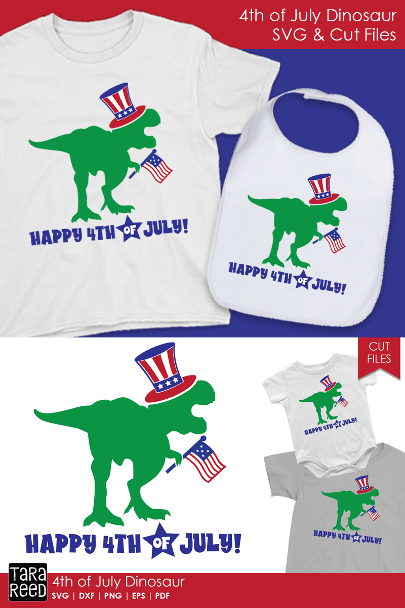 4th of July Dinosaur - Patriotic SVG and Cut Files example image 2