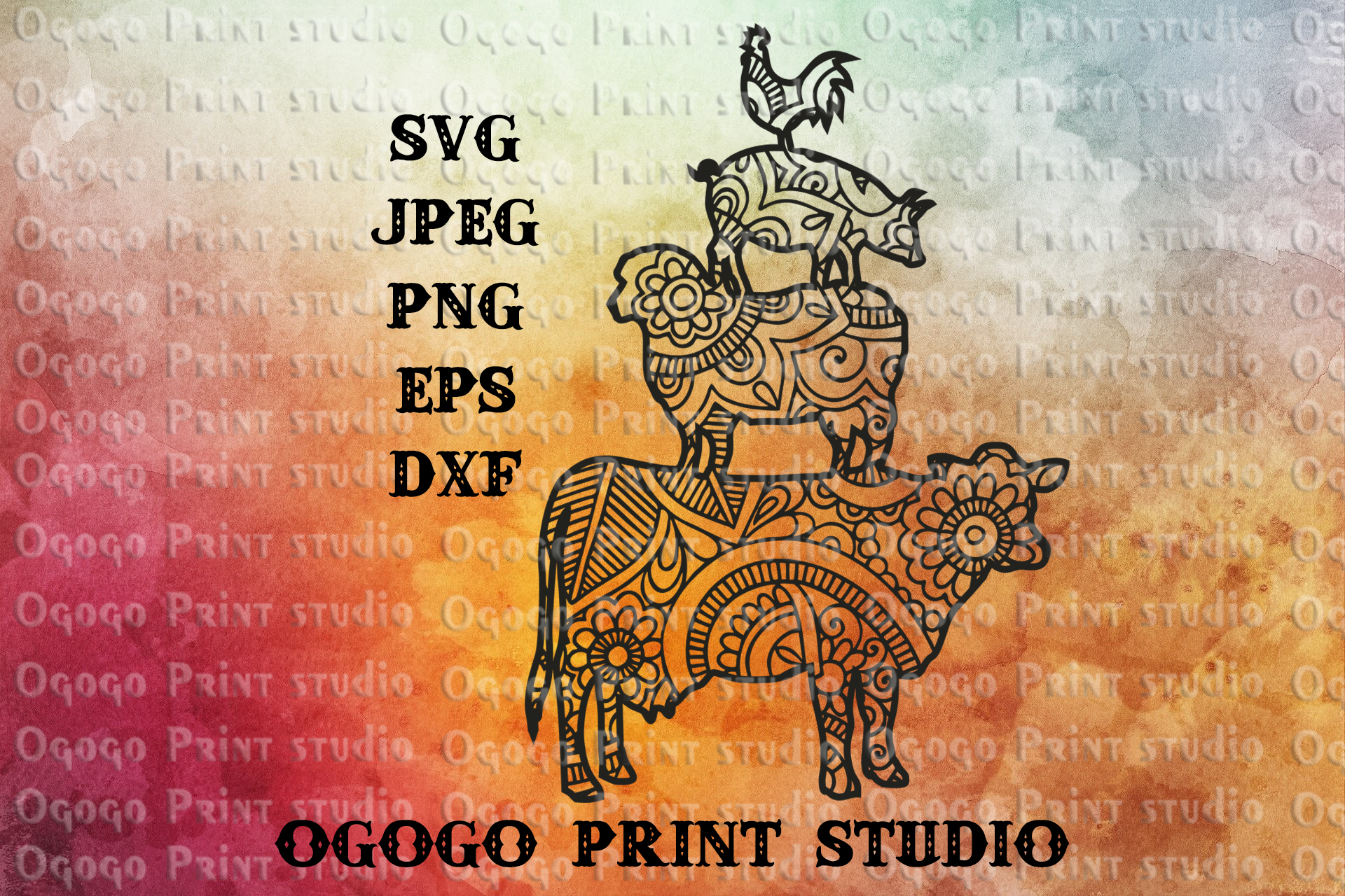 Farm Svg, Cow SVG, Zentangle SVG, Mandala svg, Farm life svg example image 1