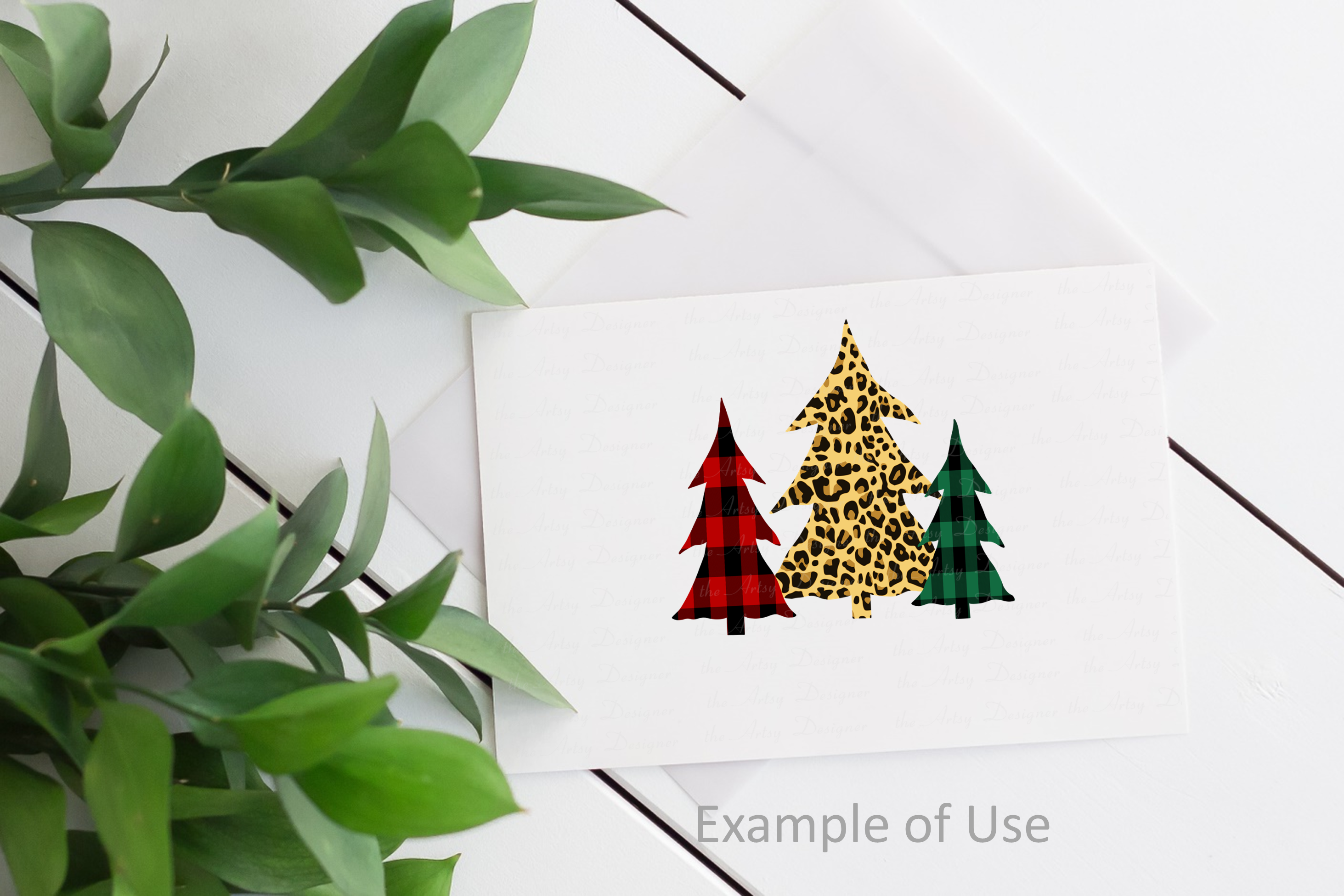 Plaid Leopard Christmas Trees Oh What Fun Sublimation Bundle example image 4