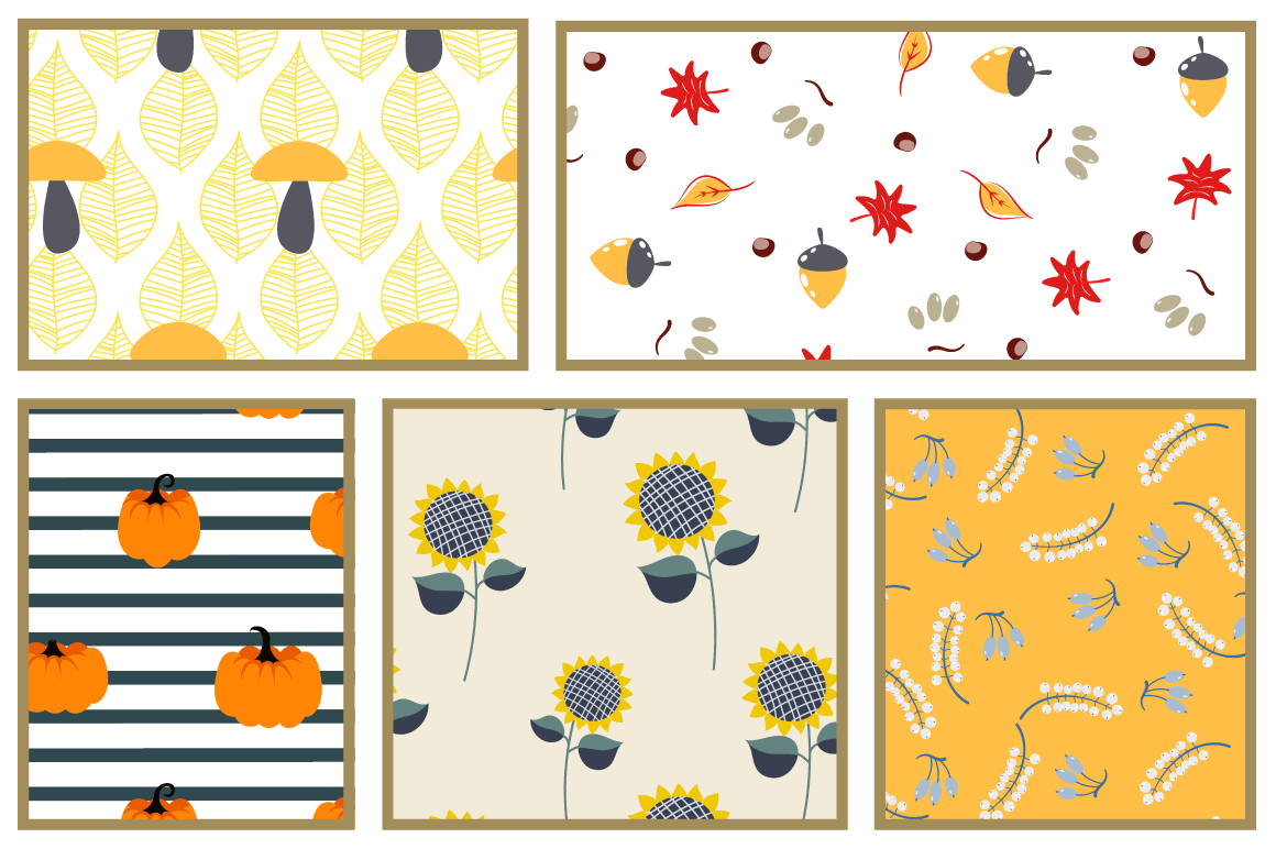 Rustic Fall Seamless Patterns example image 3