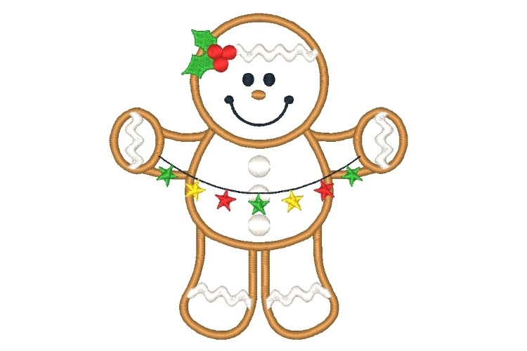 Ginger Boy Embroidery Design Set of 2 Christmas Designs example image 2