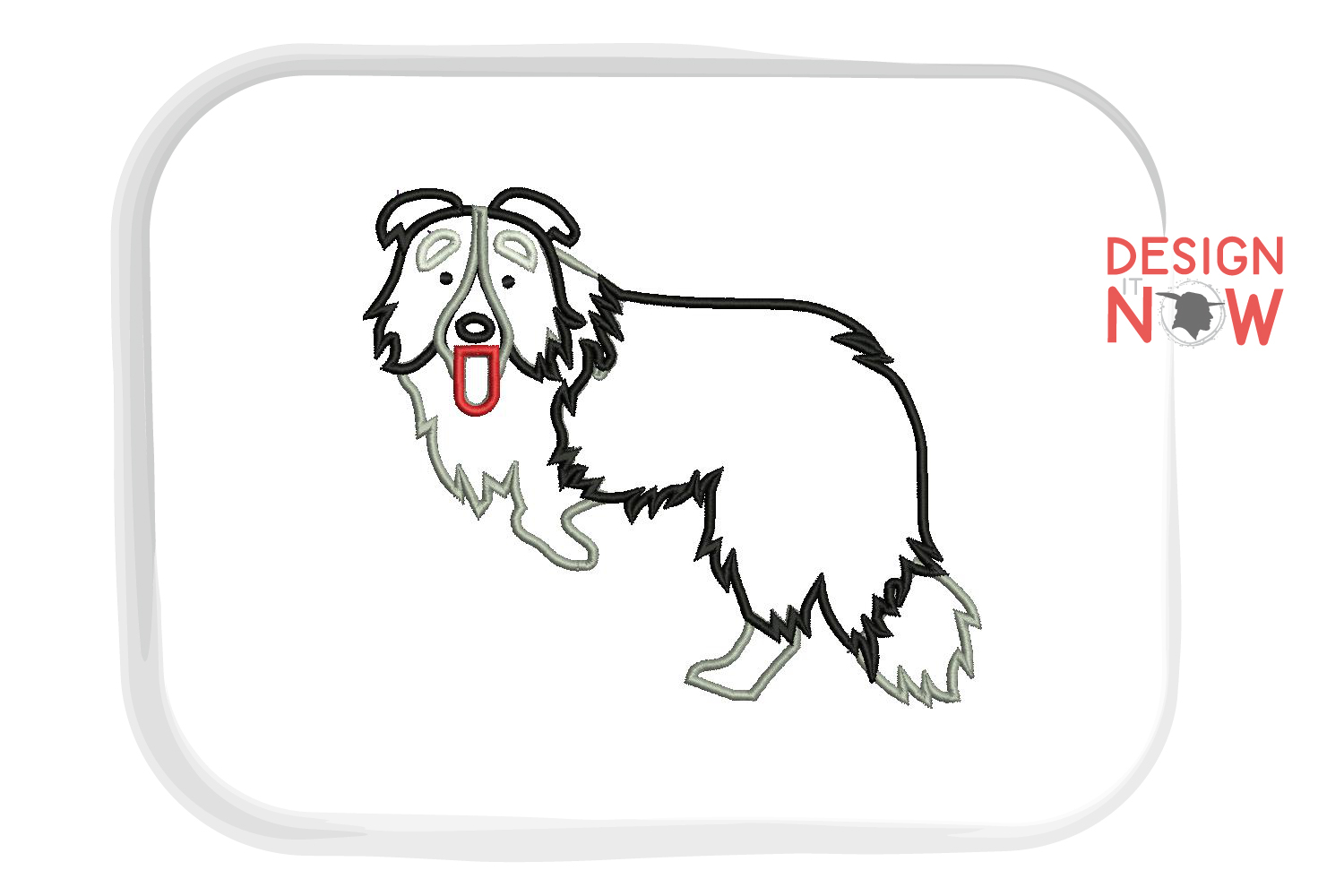 Dog Applique Embroidery Design, Border Collie Embroidery example image 3