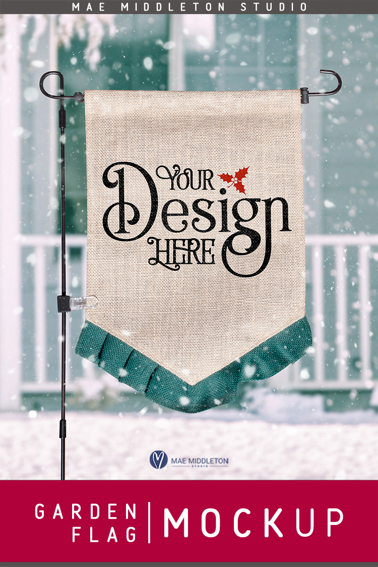 Garden Flag mock up for winter or Christmas, styled photo example image 3