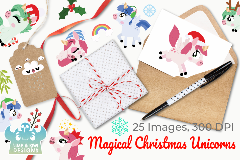 Magical Christmas Unicorns Clipart, Instant Download example image 4