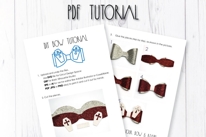 Coffin Hair bow template SVG, DIY leather bow template example image 3