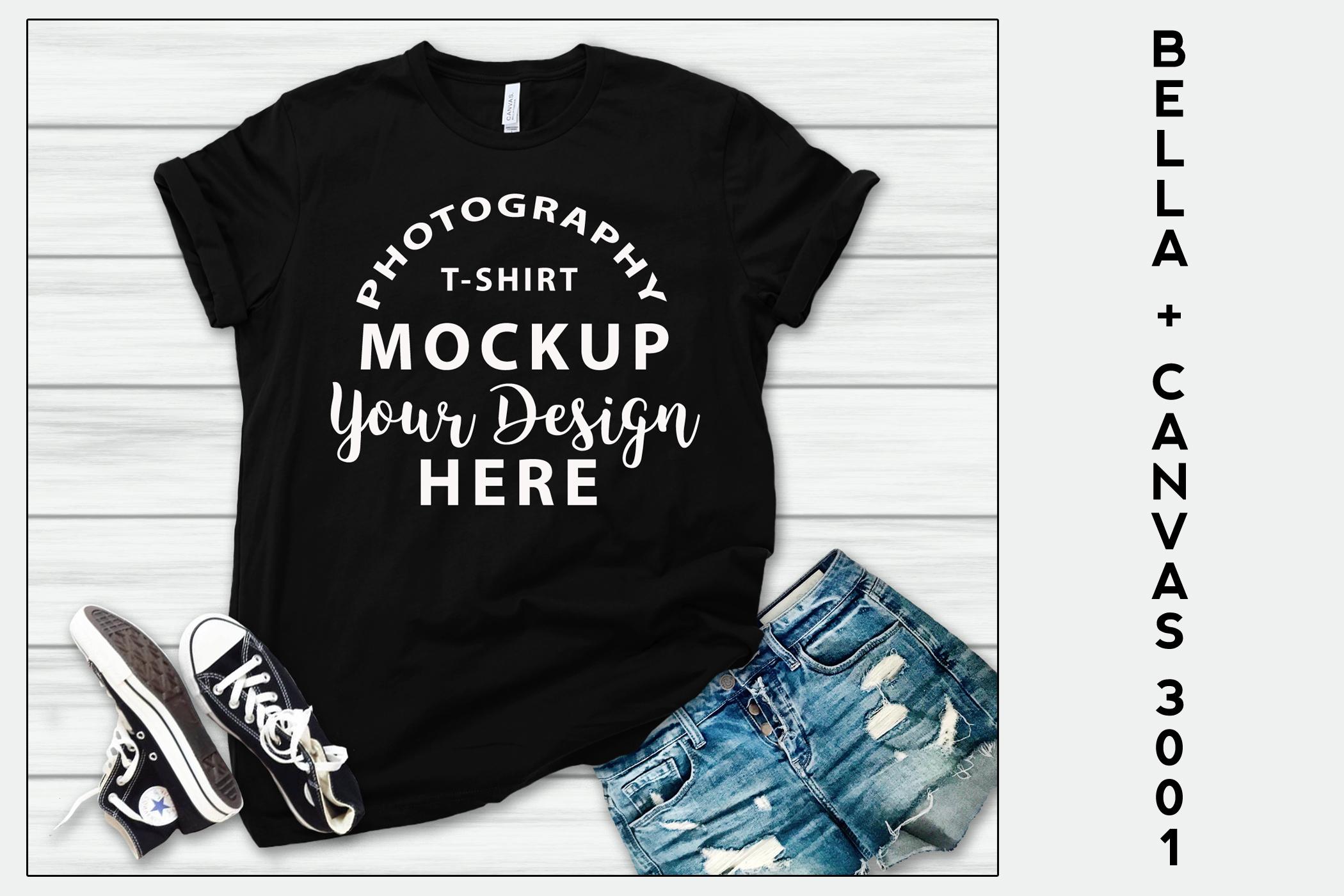 Bella Canvas 3001 T-shirt mock-up, color BLACK example image 1