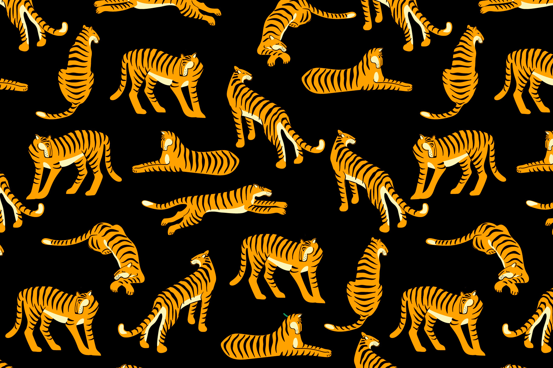 Tiger collection. Patterns & clipart example image 3