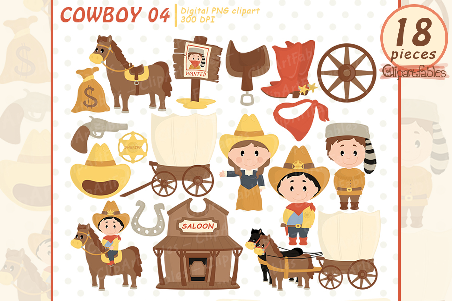 COWBOY clipart, Western clip art, cute sheriff art - INSTANT example image 1