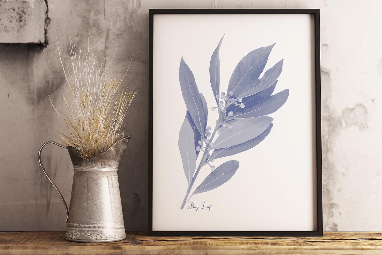 Pretty Indigo Blue Printable Kitchen Garden Herbs Art Prints example image 4