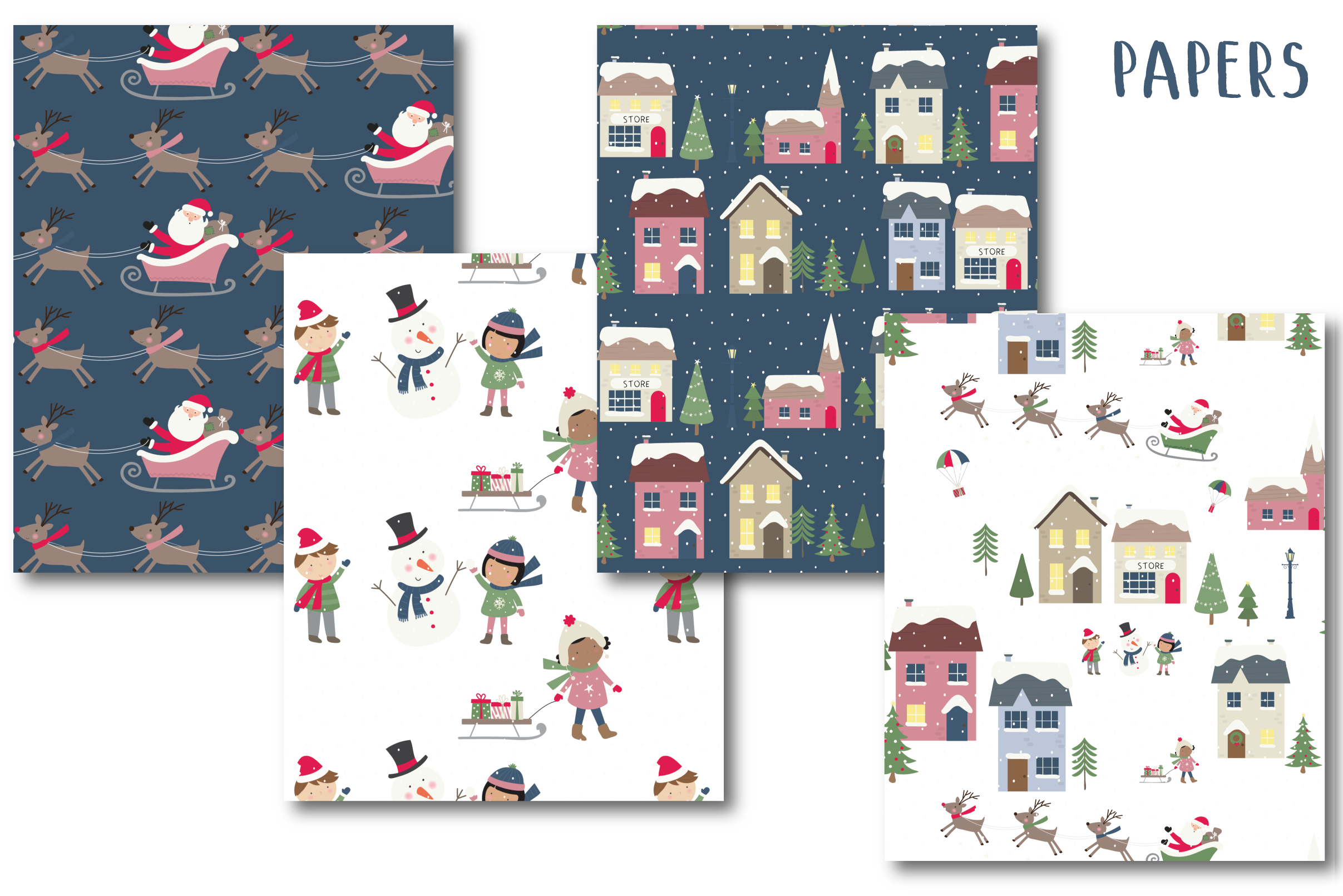 Holiday village clipart and paper example image 5