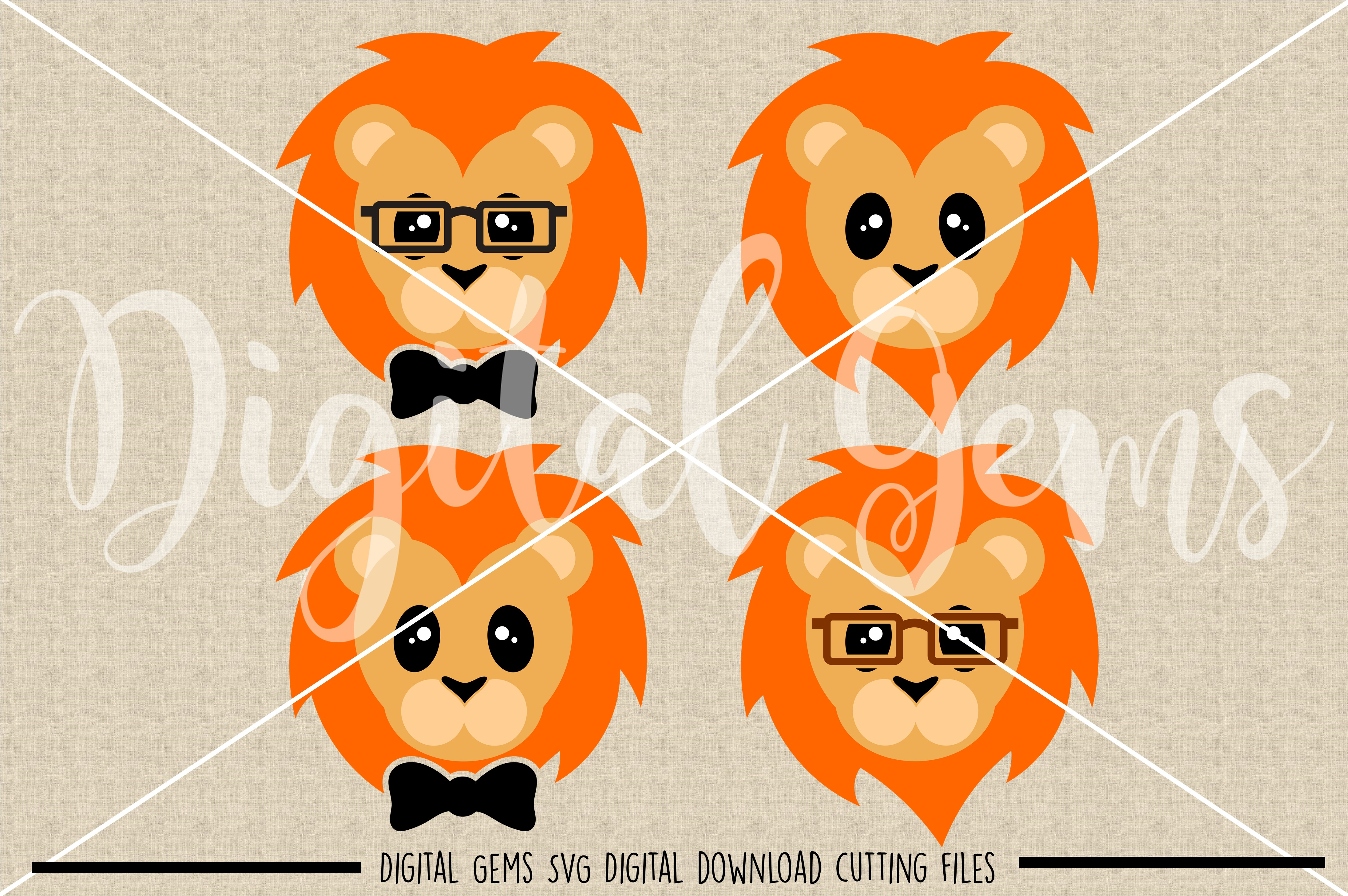 Lion faces SVG / PNG / EPS / DXF Files example image 2