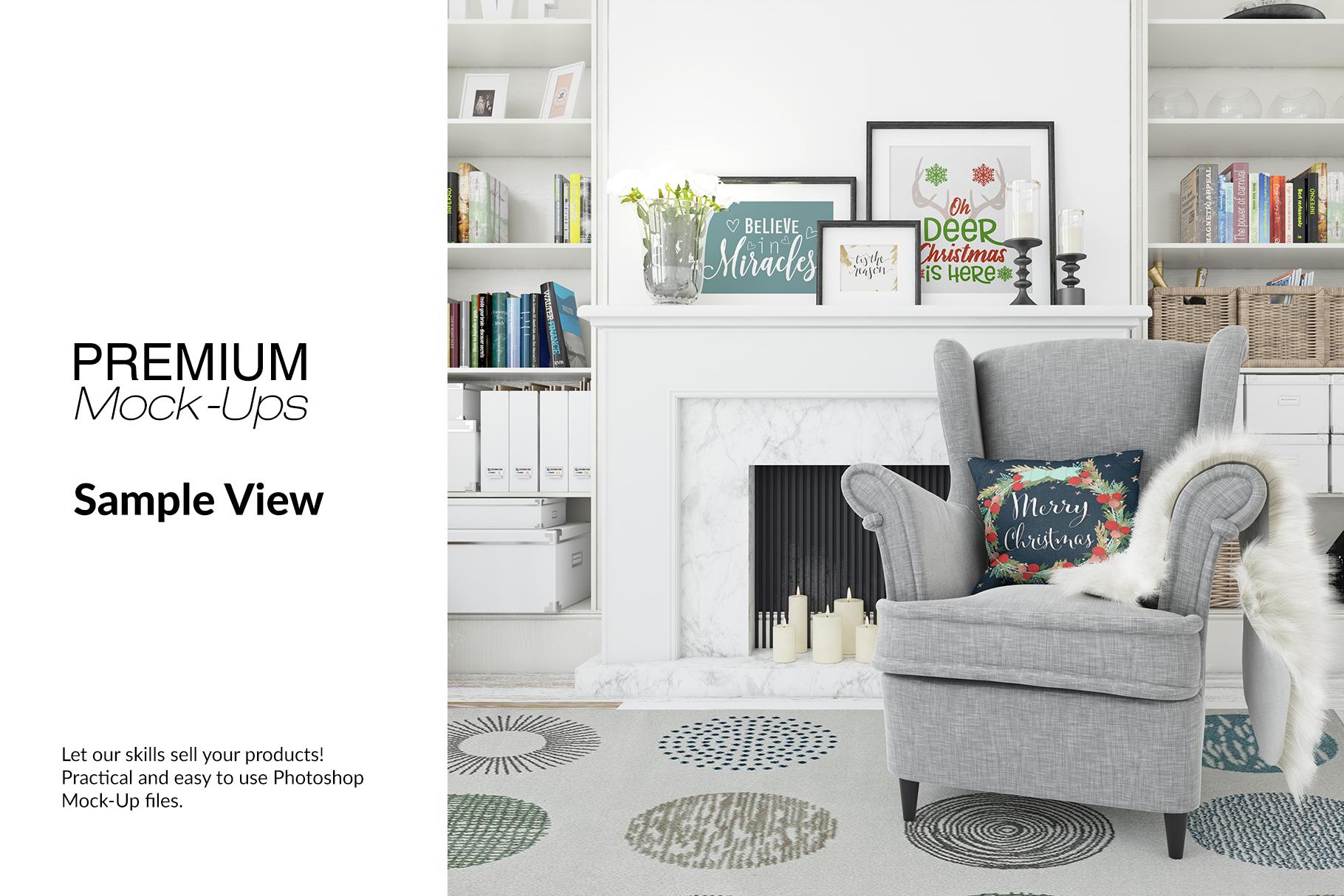Christmas Living Room - Pillow & Frames Set example image 9