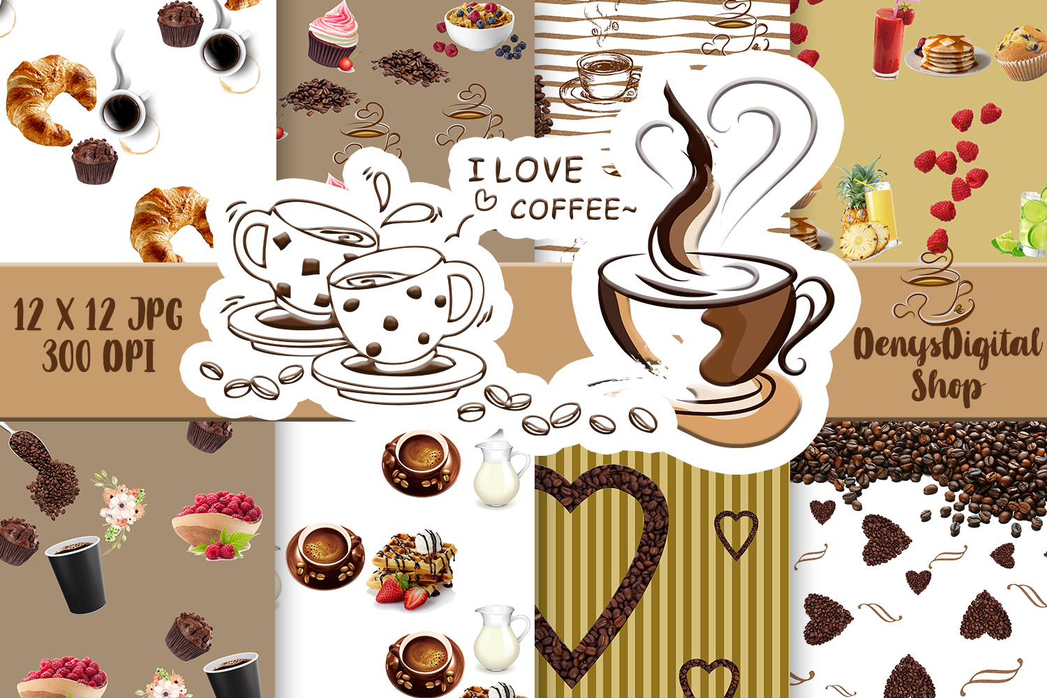 Coffee, Coffee cup, Muffin, scrapbook paper, scrapbook, SALE example image 1