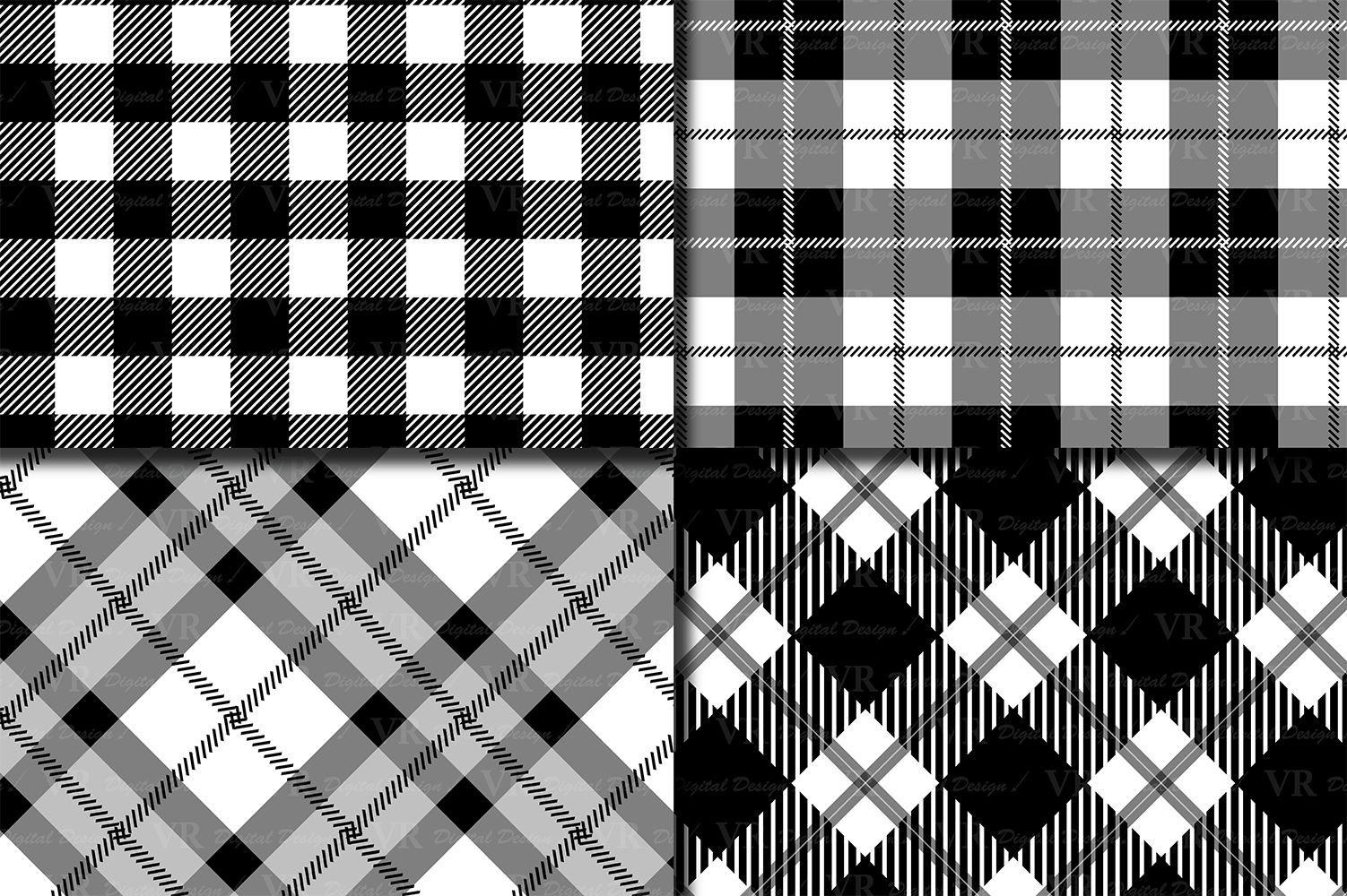 Black and White Plaids Digital Paper Set example image 2