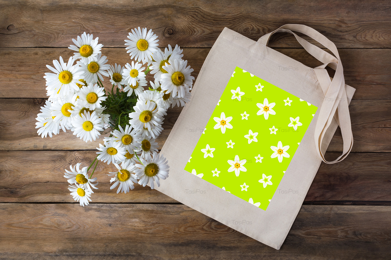 Rustic tote bag mockup with daisy example image 2