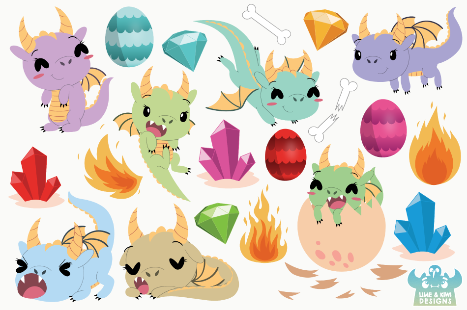 Little Dragon Girls Clipart, Instant Download Vector Art example image 2