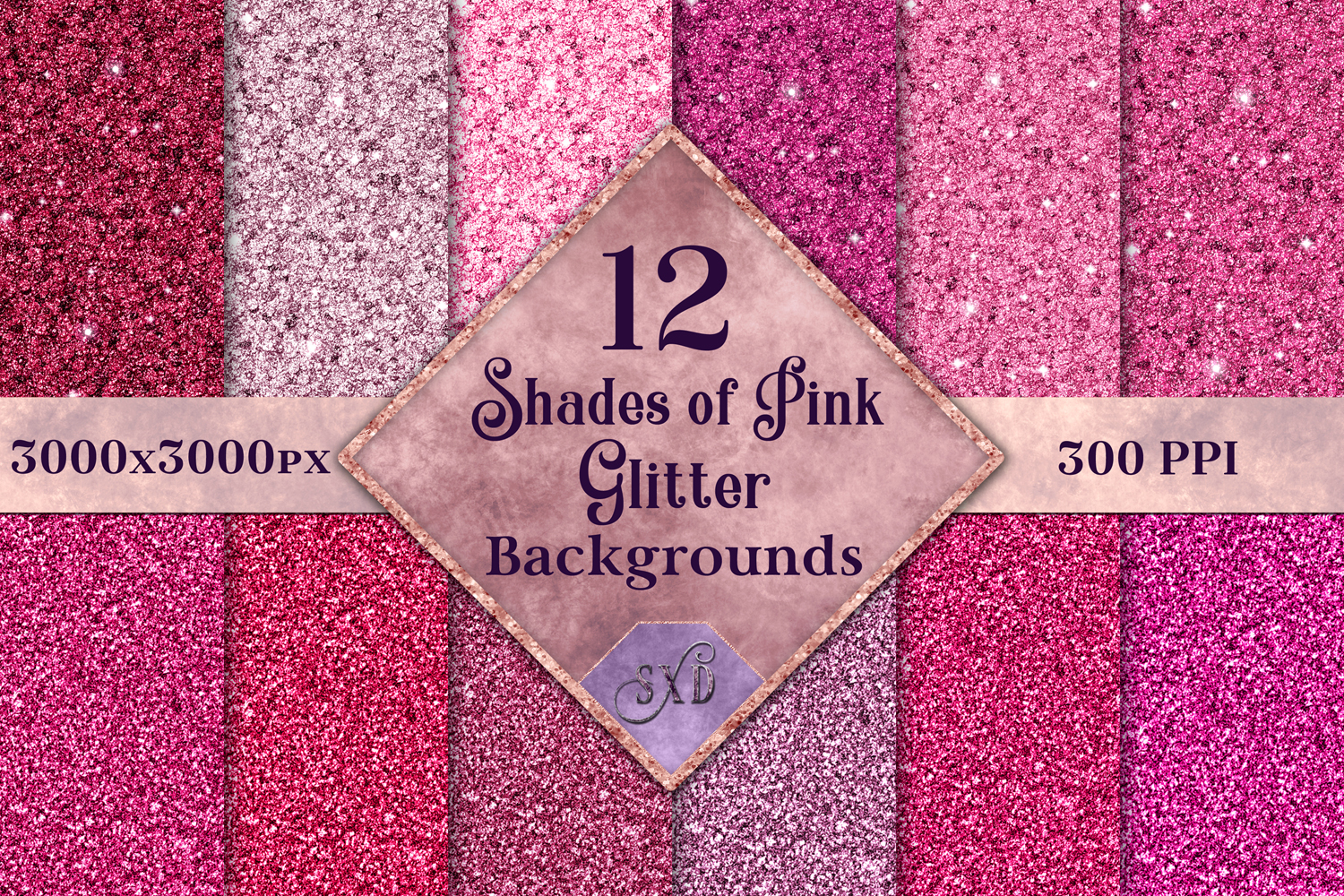 Shades of Pink Glitter - 12 Background Image Textures example image 1