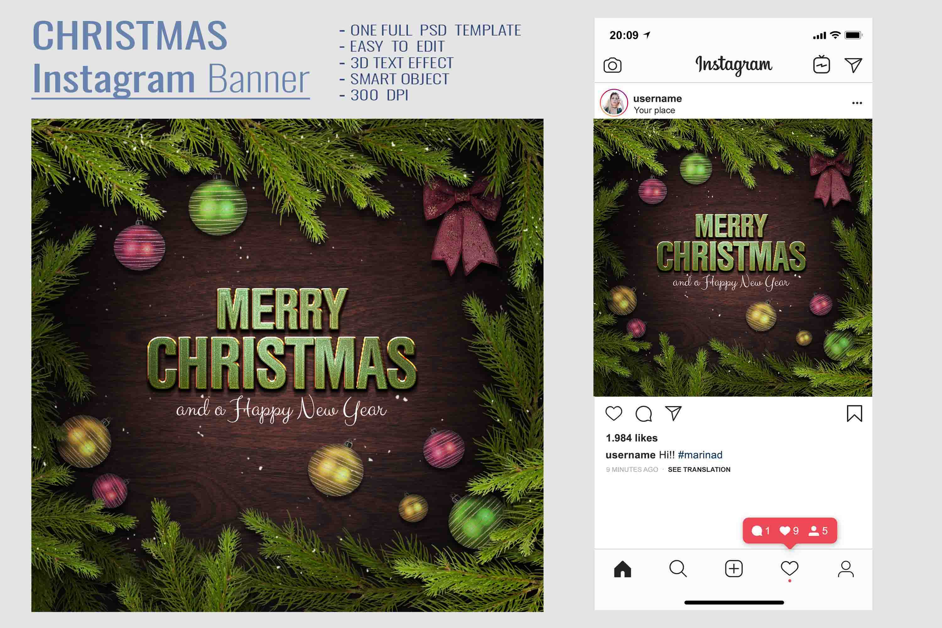 Christmas Facebook Timeline Cover & Instagram Banner PSD example image 5