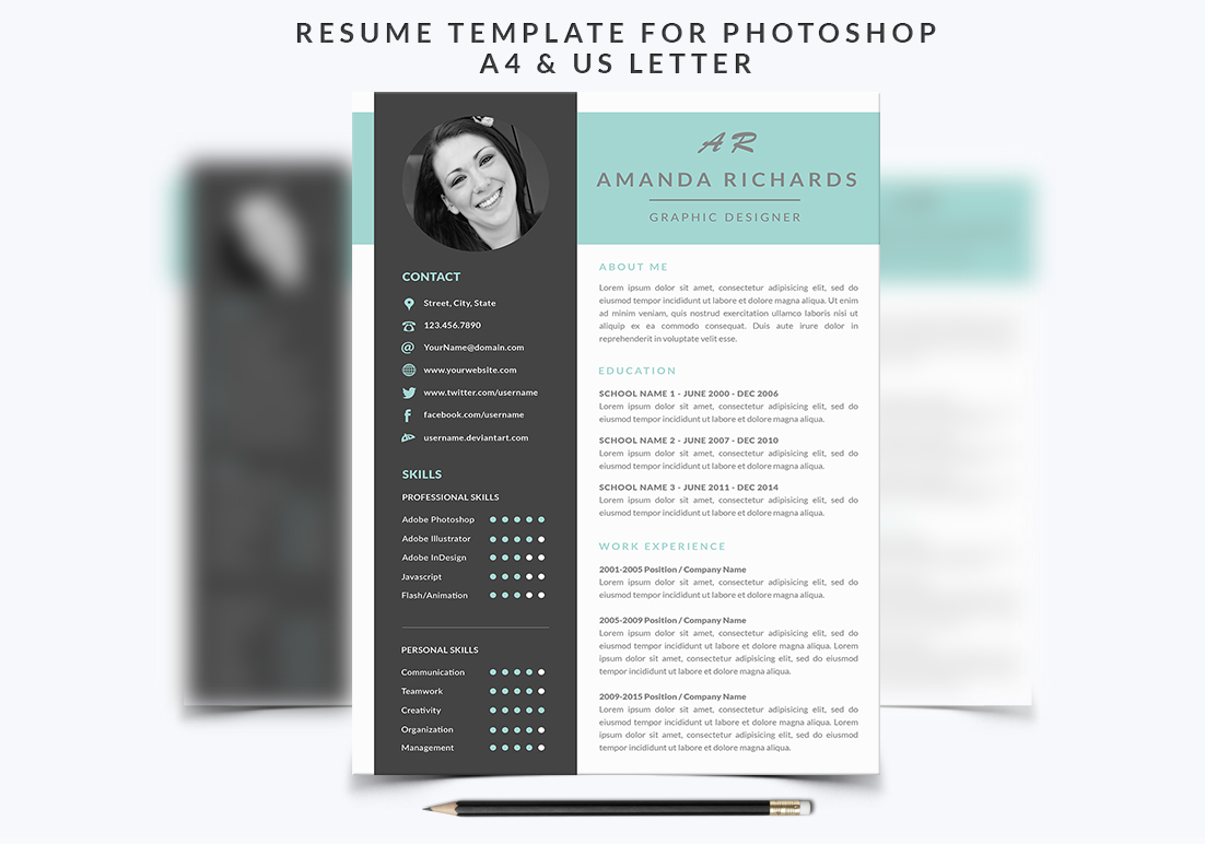 Resume Template for Photoshop example image 1