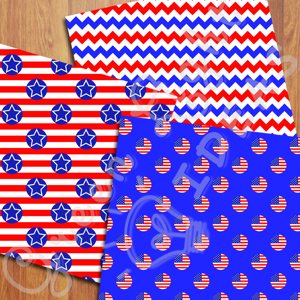 4th Of July Digital Papers, Independence Day Backgrounds example image 4