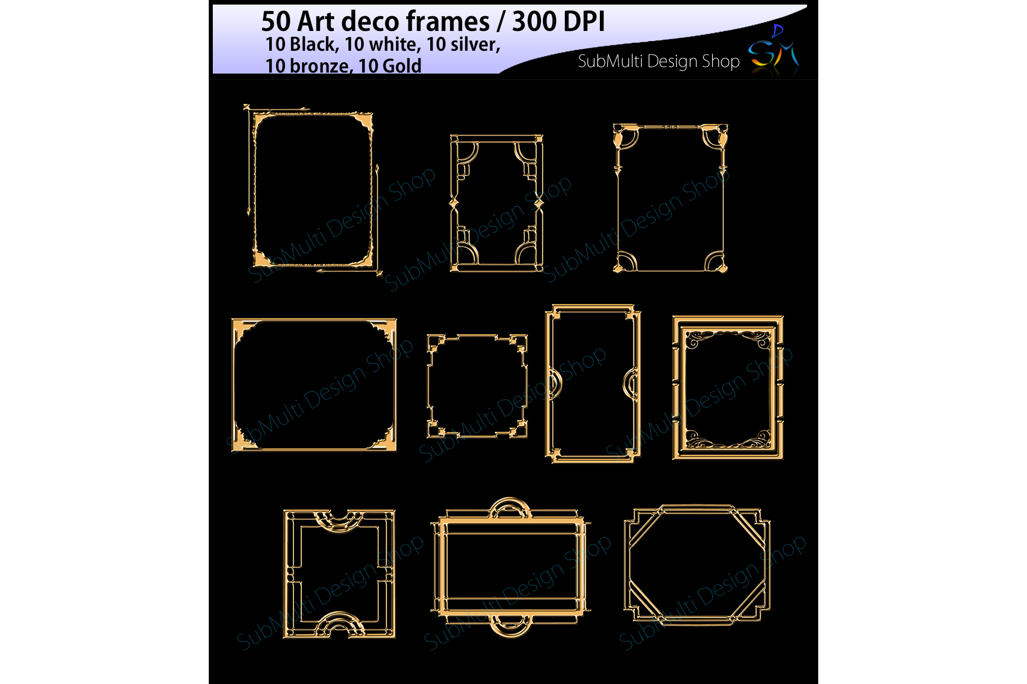 art deco frames / art deco frames clipart / art deco frames silhouette / art deco gold frames / art deco silver frame / digital/High Quality example image 3