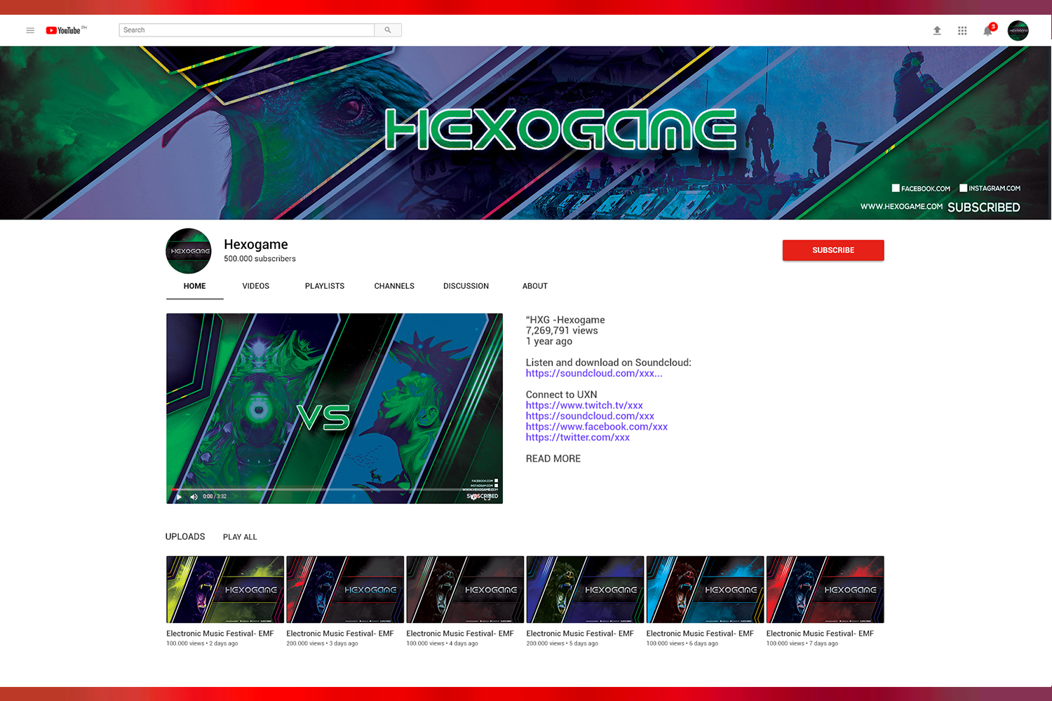 Hexo Game Youtube Templates example image 3