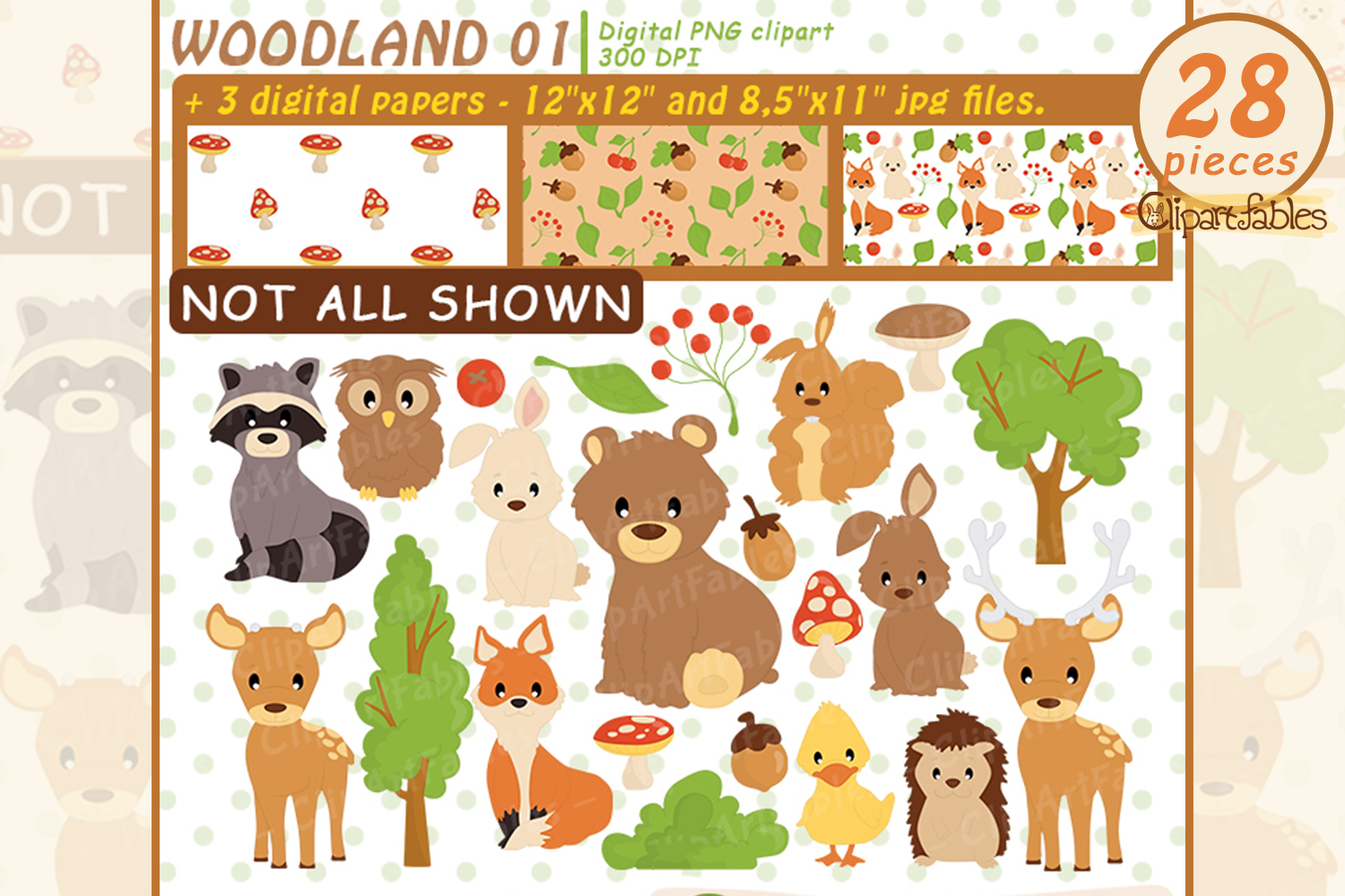 Woodland Clipart, Cute forest animals and DIGITAL papers example image 1