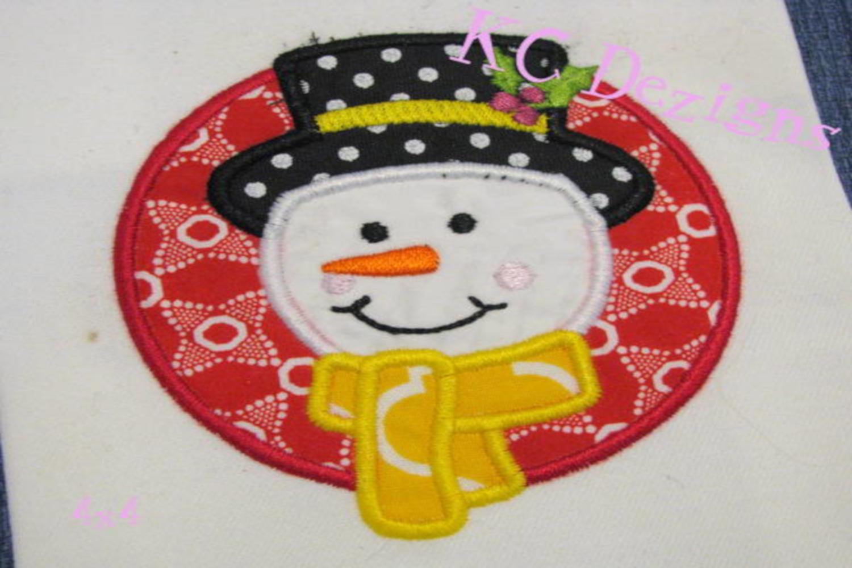 Snowman Circle Machine Applique Embroidery Design example image 3