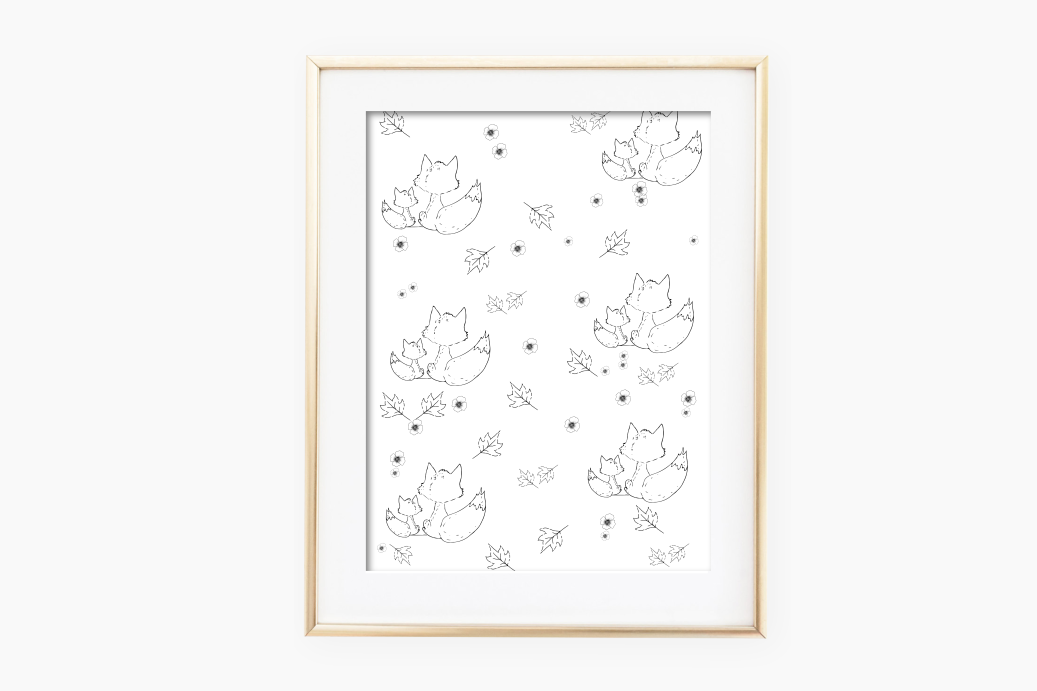 Fox and Flowers Doodle Pattern, A1, SVG example image 2
