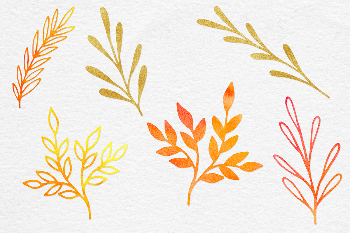 Watercolor & Gold Botanical Clipart example image 3