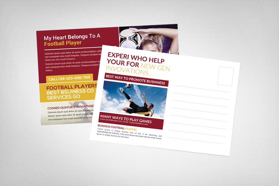 Football Players Postcard Template example image 2