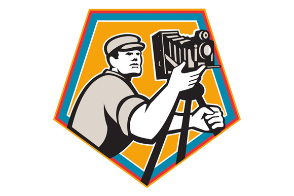Cameraman Vintage Movie Film Camera Crest Retro example image 1