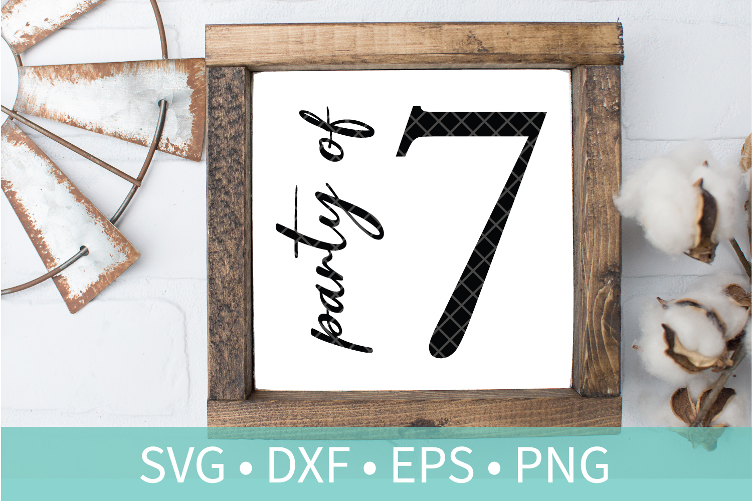 Party of 7 Family Sign SVG DXF EPS PNG Clipart Cut File example image 1