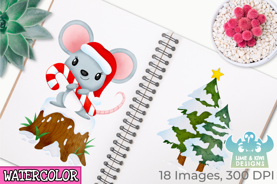 Christmas Mice Watercolor Clipart, Instant Download example image 3