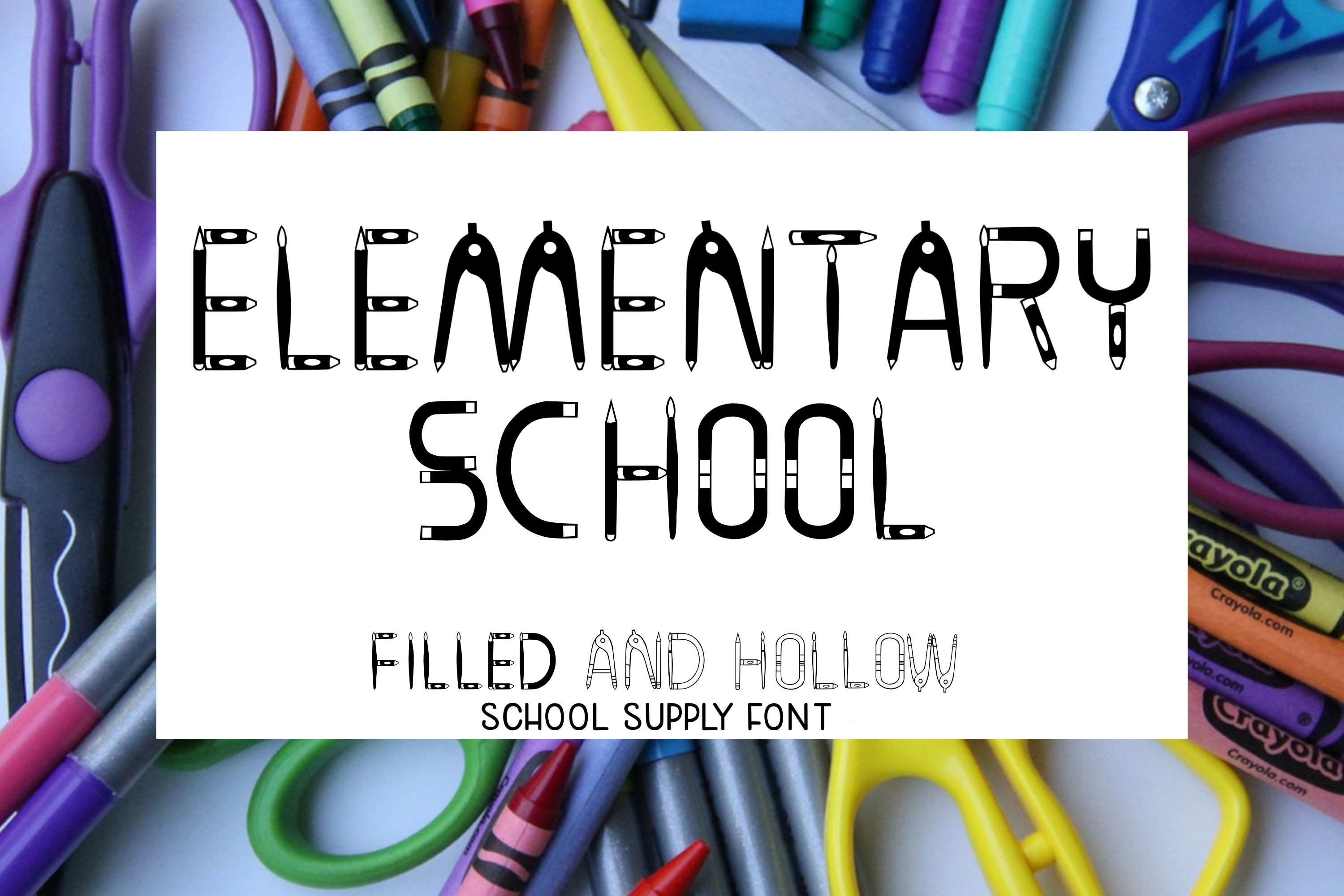 Elementary School - A filled and hollow school font example image 1