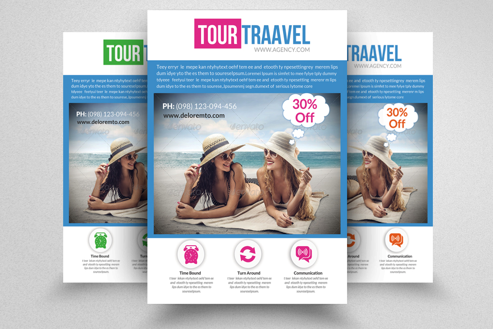6 Tour Travel & Holiday Agency Flyers Bundle example image 5