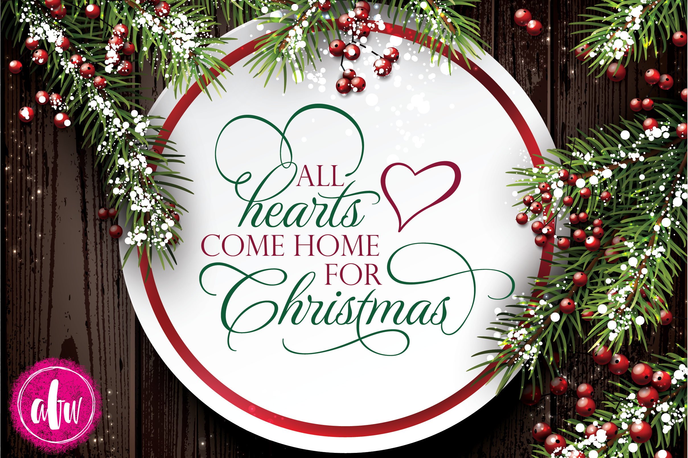 All Hearts Come Home for Christmas - SVG, DXF, EPS Cut File example image 2