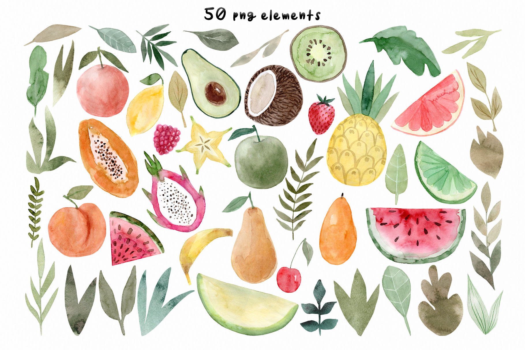 Watercolor Fruits. Patterns, Clipart example image 2