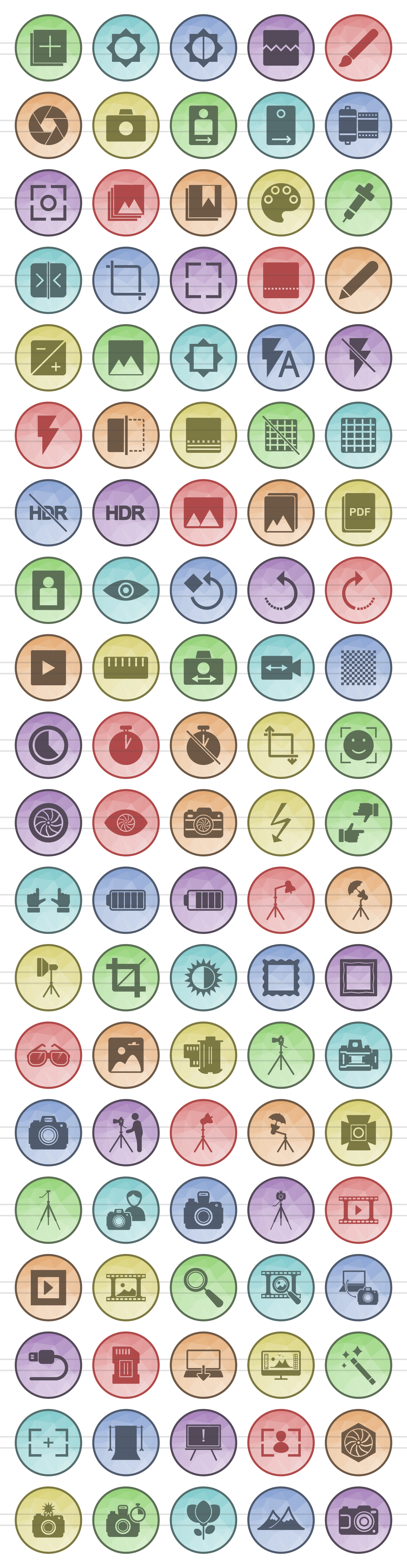 100 Photography & Picture Filled Low Poly Icons example image 2