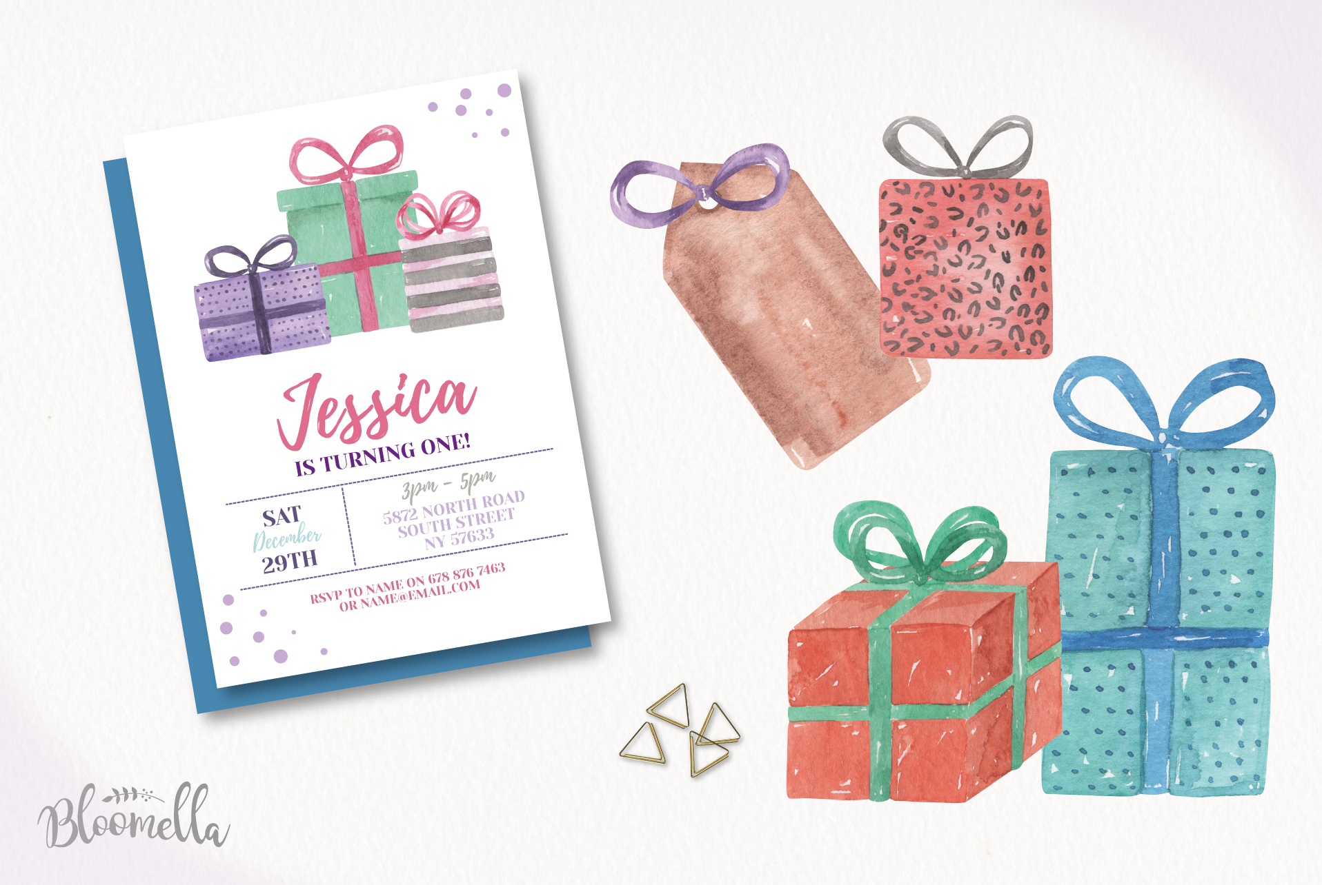Watercolor Presents Gifts Clipart Elements Tags Banners Bows example image 3