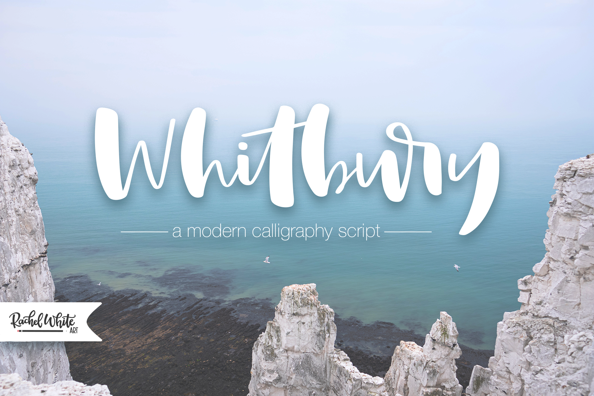 Whitbury, a modern calligraphy script font example image 10