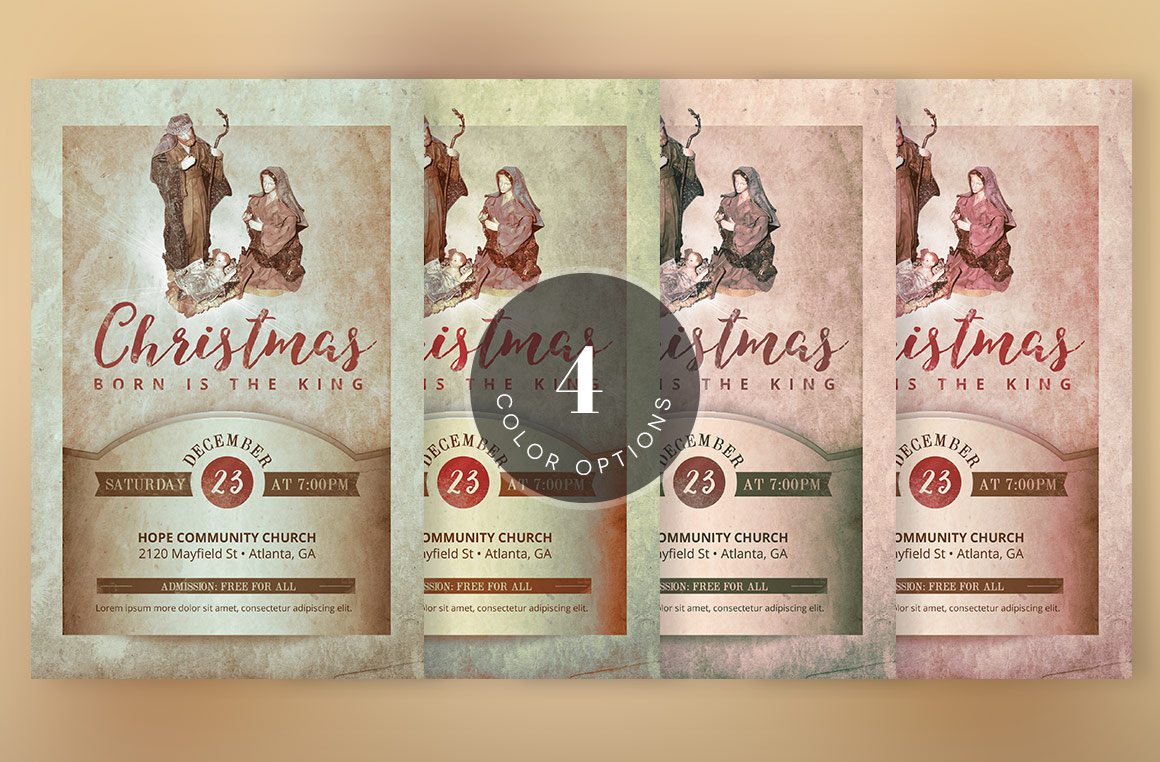 Vintage Christmas Cantata Flyer Template example image 5