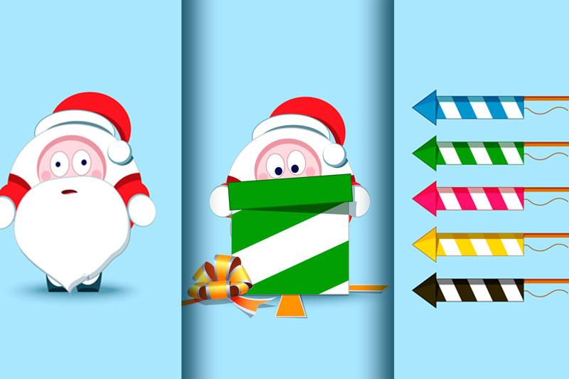 Santa Claus Christmas character set of 17 illustrations example image 6