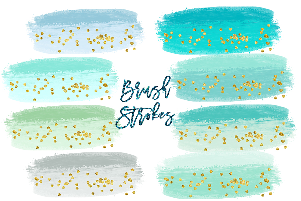 Watercolor Splashes Clipart, mint Brush Strokes Clip Art, Watercolor BRUSH STROKES Clipart Commercial Use, Paint splatter clipart, splotches example image 2