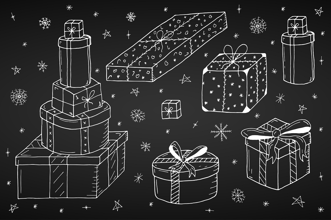 Christmas set in doodle style. example image 9