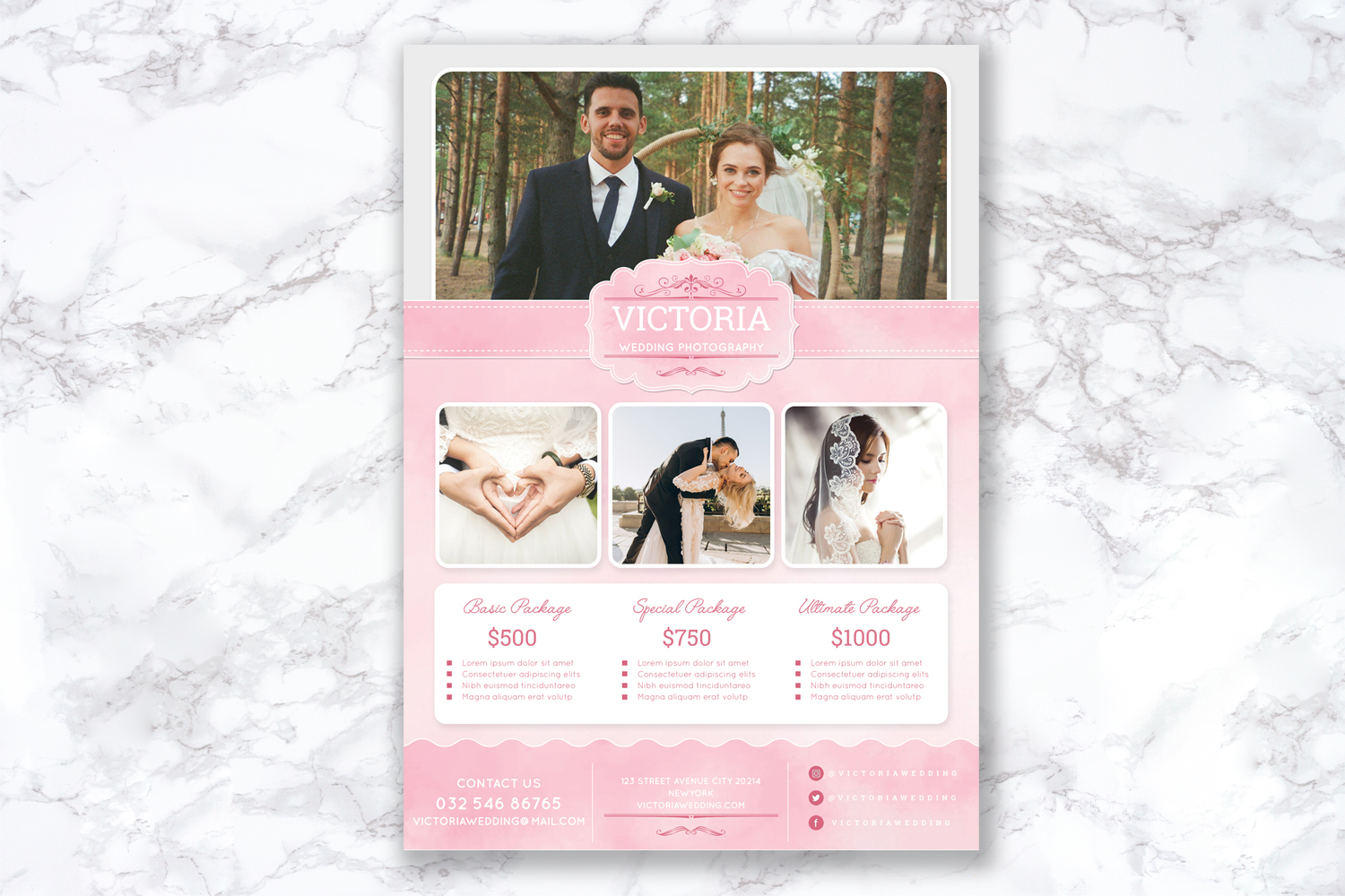 Soft Watercolor Wedding Photography Flyer example image 3