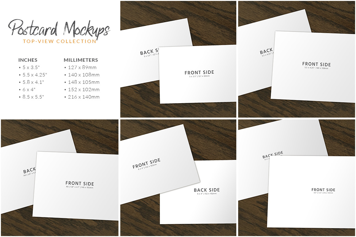 Postcard Mockup : Top-View Collection example image 3