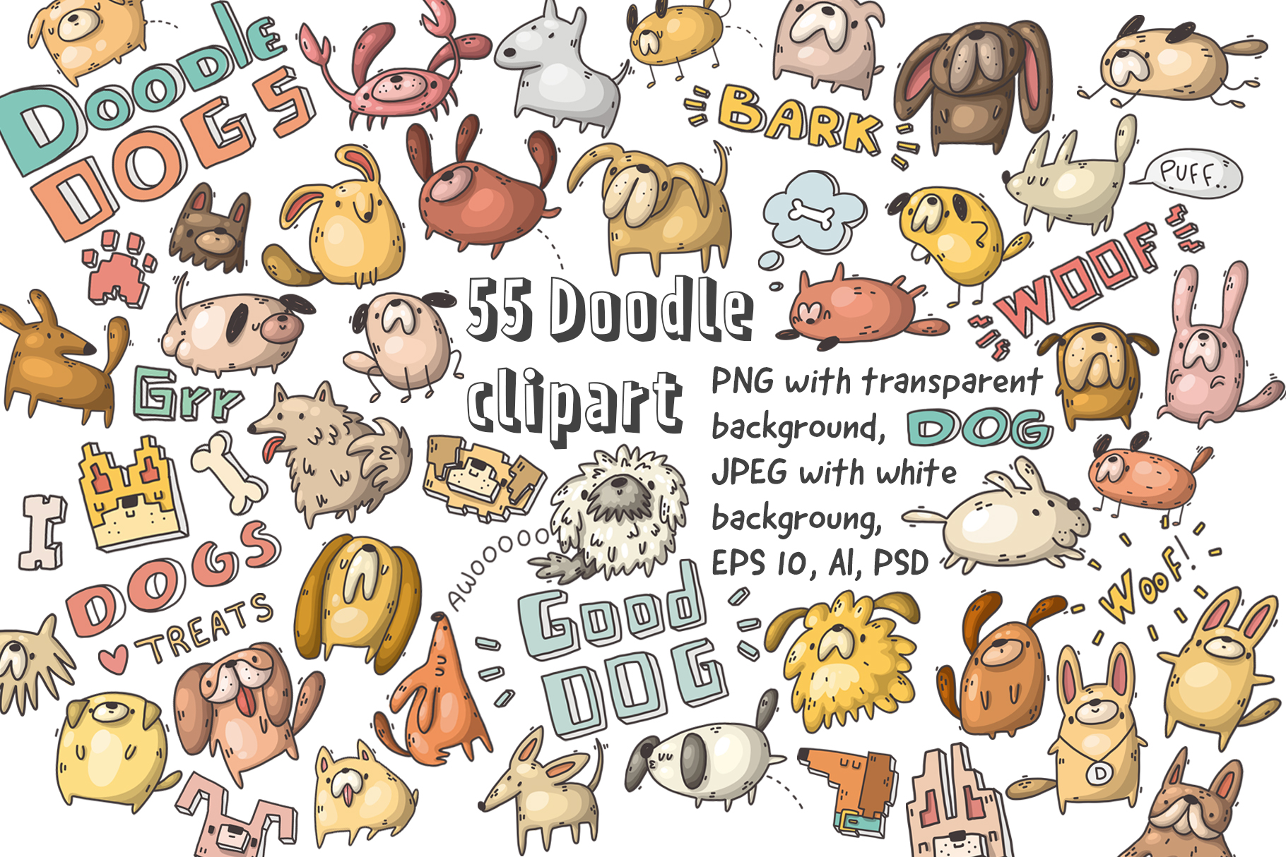 Set of funny dogs and patterns example image 2